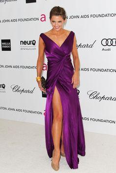 High Slit Dress, The Dress, Stana Katic Hot, Satin Dresses, Gowns, Kate Beckett, Beautiful Celebrities, Purple Dress, Wells
