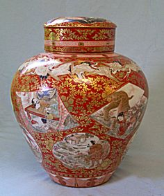 Fine Japanese Kutani porcelain dry tea storage jar c 1880 with lid Meiji Period cranes Japanese Vase, Japanese Porcelain, Japanese Ceramics, Japanese Pottery, Japanese China, Glass Ceramic, Ceramic Pottery, Pottery Art, Ceramic Art