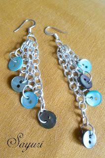 DIY Button Craft : DIY  Chain earrings with Lots of Buttons