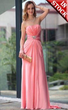 Stunning Peach Strapless Long Formal Dress
