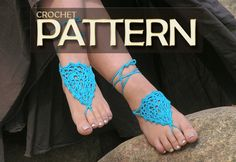 BAREFOOT SANDALS Crochet pdf PATTERN Bridal Foot by NATgirona, $2.90