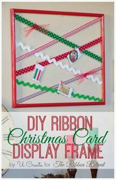 DIY Ribbon Christmas Card Display Frame - The Ribbon Retreat Blog