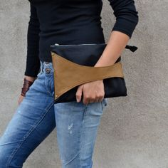 Leather Detail Bag in Black Fabric & Mustard Brown Leather, iPad  Size, handmade clutch / wristlet