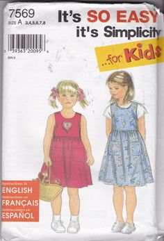"RARE, NEW & UNCUT, Simplicity 7569, an ""It's so Easy it's Simplicity "" Pattern for girls sundress/jumper and top in sizes 3-4-5-6-7-8. by TreasuresFromGranny on Etsy"