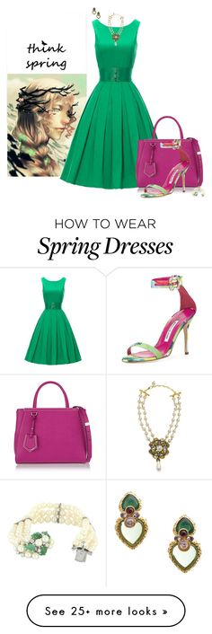 """""""Think Spring"""" by chileez on Polyvore featuring Fendi, Manolo Blahnik, Chanel, Vintage, women's clothing, women, female, woman, misses and juniors"""