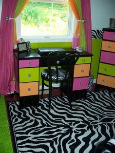 Zebra, Hot pink, Lime green, Orange, Bedroom(kk edit: teal instead of orange) My New Room, My Room, Girl Room, Awesome Bedrooms, Cool Rooms, Bedroom Orange, Daughters Room, Teen Girl Bedrooms, Dream Rooms