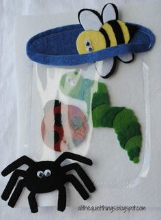 All The Quiet Things: Quiet Book - Boys - Bug Jar! - Or have them gather up those pesky cornish pixies. Diy Quiet Books, Baby Quiet Book, Felt Quiet Books, Book Projects, Sewing Projects, Felt Crafts, Crafts For Kids, Quiet Book Patterns, Books For Boys