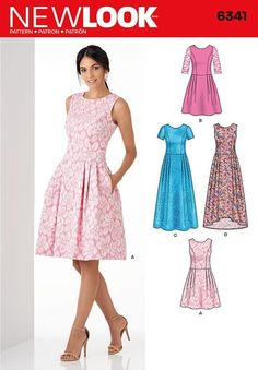 NEW LOOK SEWING PATTERN MISSES DRESS IN 3 LENGTHS SIZE 6 - 18 6341