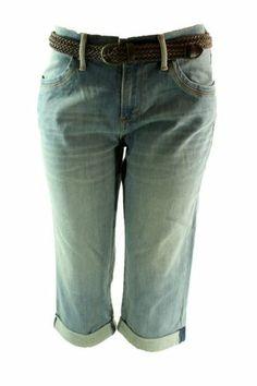 Levis Jeans 515 Capri w/Free Belt Blue Eclipse Cuff Stretch Denim Womens Misses