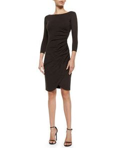 This Bateau-Neck Side-Ruched Dress, Chocolate by Armani Collezioni at Neiman Marcus would be a fall/winter go-to for me.  I love the 3/4 sleeve.