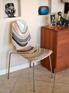 DIY marbled chair from a plain white melamine scratch and dent find.