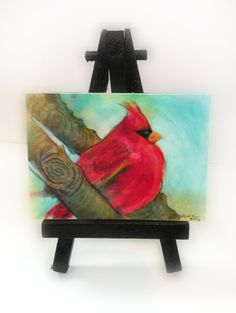 Autumn Cardinal2.50x3.50 inches birds little by Gina Signore #dahliahousestudios #Miniature art #Aceo art #Artist trading cards #Cardinals #Miniature bird art #Art