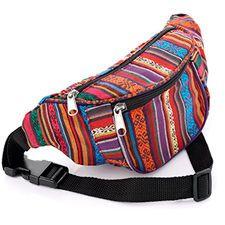 Bum Bag Fanny Pack Festival Money Waist Pouch Travel Canvas Belt Grunge Neon for sale online Mochila Hippie, Waist Pouch, Striped Canvas, Bum Bag, Best Bags, Tk Maxx, Leather Pouch, Fanny Pack, Shoe Bag