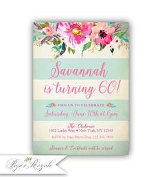 60th Birthday Invitation For Women Watercolor Floral Mint 13th Invitations 70th Parties