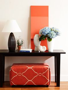 DIY- Enliven your ottoman.  Details on this and other easy ways to refresh a room: http://www.midwestliving.com/homes/decorating-ideas/easy-projects/