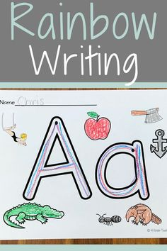 What is Rainbow Writing - Fun, Engaging Activity - 4 Kinder Teachers Kindergarten Writing, Kindergarten Worksheets, Kindergarten Classroom, Literacy, Alphabet Worksheets, Alphabet Activities, Learning The Alphabet, Student Learning, School Days