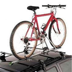 Bicycle Carrier Rack For Roof Bars. Lockable bike rack for convenient transport of one bicycle. The aerodynamically formed aluminium profile offers a secure and stable platform for your bicycle. The bicycle frame can easily be secured using the frame holder made from powder-coated steel.