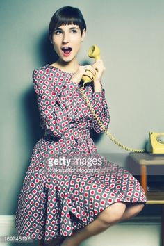 Photo : Girls with a Retro Telephone