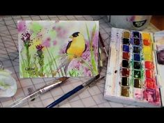 Today I will teach you to draw and paint a goldfinch in watercolor. You will need watercolor paper, watercolor paint, a pencil and soft nylon brushes. You ca...