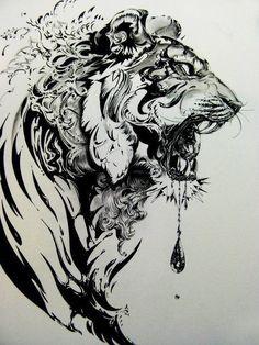 Tiger Illustration by Nekoshowgun. Powered by Elebra! Coeur Tattoo, Et Tattoo, Tattoo Drawings, Body Art Tattoos, Tatoos, Art Drawings, Sick Tattoo, Tattoo Pics, Sketch Tattoo