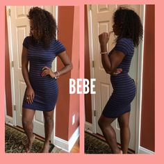 Bebe dress! Turtle neck navy blue and gold striped dress. Very stretchy! Never worn! bebe Dresses