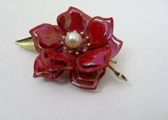 Enamel Flower Pin - Vintage 1960s Brooch in Red Enamel with Gold & a Pearl Center