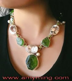 burmese peridot necklace | rough peridot white topaz freshwater pearls $ 2400 image via amy ming ...