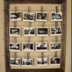 Love this idea: Peg images to string in a frame and lean. Use 'cow' frames as a pair