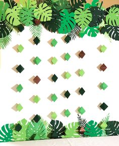 Paper Tropical Leaves and Stringed Geometric shaped garland. A variety of paper tropical leaves and stringed geometric shapes. Paper Tropical Leaves and Stringed Geometric shaped garland. Jungle Theme Parties, Jungle Theme Birthday, Safari Theme Party, Jungle Party, Dinosaur Birthday Party, Jungle Decorations, Paper Decorations, Birthday Party Decorations, Diy Dinosaur Party Decorations