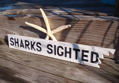 Shark Sign Bite Nautical Decor Beach Cottage by justbeachyshop, P8's room!