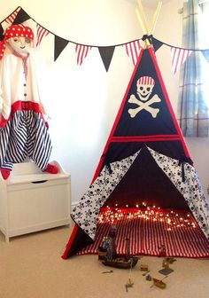 Kids pirate play tipi tent with quilted mat padded by Spoonangels Teepee Party, Teepee Tent, Teepees, Slumber Parties, Sleepover, Pirate Kids, Kids Tents, Pirate Theme, Kids Bedroom
