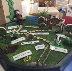 Our Jack and the Beanstalk storytelling tray encouraged us to retell the beginning, middle and end as well as learn vocabulary associated… Fairy Tale Activities, Eyfs Activities, Nursery Activities, Activities For Kids, Activity Ideas, Traditional Tales, Traditional Stories, Play Based Learning, Learning Through Play