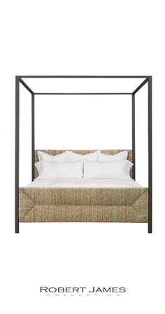 The IBIZA 4-poster, canopy bed by the Robert James Collection. #1094. Shown in Espresso finish on iron supports. The organic handwoven raffia contrasts beautifully with the hand-forged iron posts and rails. Natural tones evoke the coastal hues of the island in Spain for which it takes its name. Magnifico. Also available in other iron finishes. Fully customizable. Made by hand locally for opulent details and extraordinary quality.