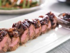 Get Pork Tenderloin with Bacon-Onion Jam Recipe from Food Network