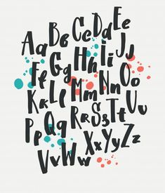 Letters of the alphabet written with brush. Handwriting Alphabet, Alphabet Writing, Hand Lettering Alphabet, Doodle Lettering, Hand Drawn Lettering, Creative Lettering, Lettering Styles, Graffiti Lettering, Brush Lettering