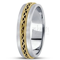 Hand Beaded Wave Design Wedding Ring, Satin Finish on each side. Available in 14K Gold, 18K Gold & Platinum. / Style Number : HC100293