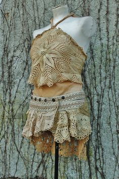 under the golden pearl moon- leather and crochet lace skirt belt golden beige tan color tattered tribal gypsy pixie bohemian