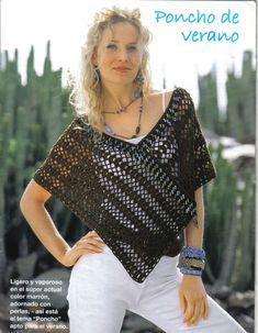 "Photo from album ""Stella Piu"" on Yandex. Crochet Poncho Patterns, Crochet Shawls And Wraps, Crochet Blouse, Knitted Poncho, Crochet Scarves, Crochet Doilies, Crochet Clothes, Knit Crochet, Couture Cuir"