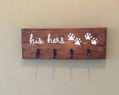 His and Hers Key Holder, His and Hers Key Hooks, Dog Leash Holder, Dog Leash Hook by heddyj on Etsy Dog Leash Holder, Wall Key Holder, Key Holders, Rack Design, Key Hooks, Wall Hanger, Diy Wall, Wood Signs, Painted Wooden Signs
