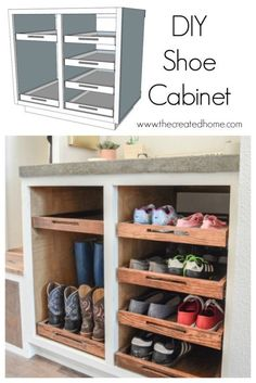 Shoe Storage Cabinet with Trays - The Created Home DIY Shoe Storage Cabinet wit. - Shoe Storage Cabinet with Trays – The Created Home DIY Shoe Storage Cabinet with Trays - Shoe Storage Plans, Closet Shoe Storage, Diy Shoe Rack, Shoe Racks, How To Make Shoe Storage, Shoe Closet Organization, Shoe Storage Ideas For Small Spaces, Shoe Storage Bench Diy, Outdoor Shoe Storage