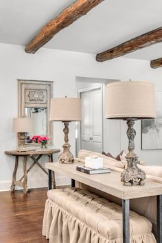 Thurston table lamp table lamp accent lamp living room lamps french inspired living room boasts ceiling lined with rustic wood beams over gray wash french mirror aloadofball Image collections
