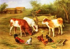 Edgar Hunt (Edgar  Hunt), Calves and Chickens Feeding in a Farmyard