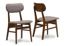 Baxton Studio Sacramento Walnut Wood Grey Dining Chair - Set of 2