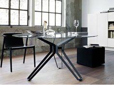 Mesa redonda de vidrio 3-POD by Lema | diseño Francesco Rota