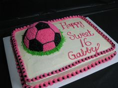 Soccer ball birthday cake by Cake Creations by Shelly, idea for McKinzie's birthday