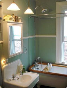 teal and white for the downstairs bathroom, only ours will be mostly white with a lighter teal.