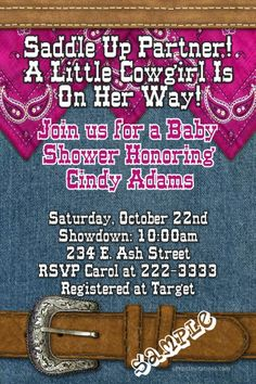 Cowgirl baby shower invitations. Choose your color scheme. Design online download and print  immediately.