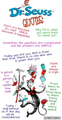 Seuss Day on Friday, March 2013 at home or school by dressing up or making one of these Dr. Seuss crafts together. Seuss Day is celebrated on {or around} Dr. Seuss's birthday which is March Second… so Happy Birthday Dr. Dr. Seuss, Great Quotes, Me Quotes, Funny Quotes, Quotes Inspirational, Girl Quotes, Wisdom Quotes, Sister Quotes, People Quotes