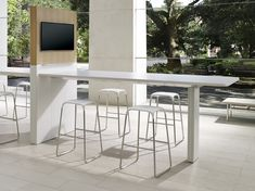 Optimize that little leftover space with a bar-top collaboration furniture piece that's built for conferencing and brainstorming. This sleek style fits most modern office designs, and breaks up the monotony of the cubicle farm. Jumpstart your imagination here.