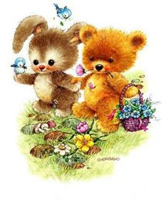 Belles illustrations de G.Giordano /Tulip et Marigold Illustration Mignonne, Cute Illustration, Tatty Teddy, Baby Animals, Animals And Pets, Cute Animals, Decoupage, Painting For Kids, Art For Kids